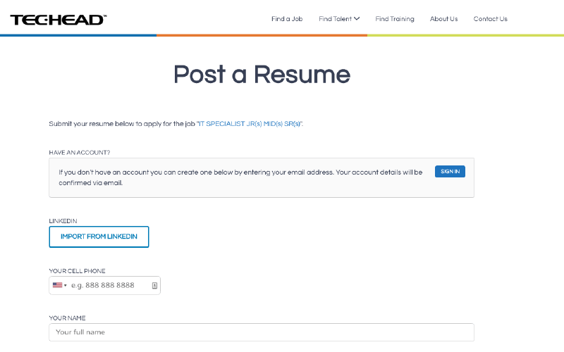 techead post a resume page