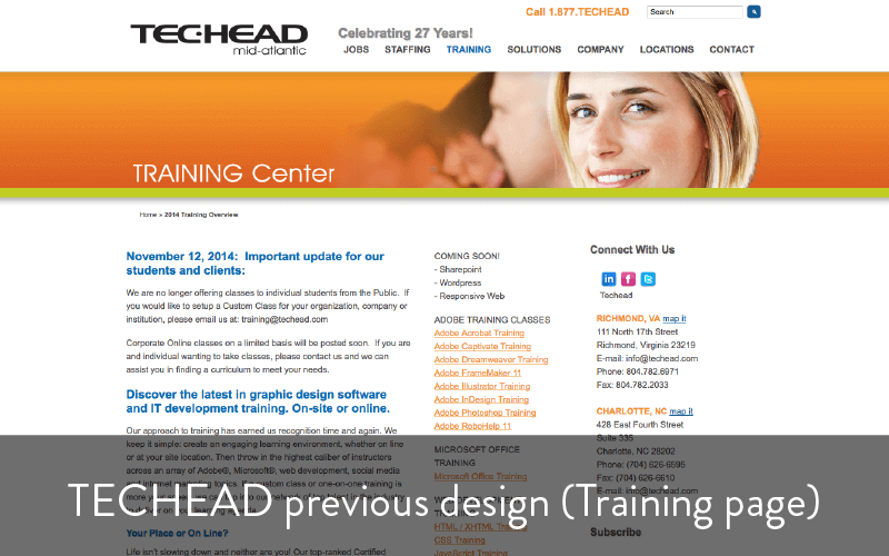 techead previous design - training